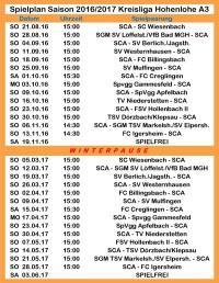 Spielplan Kreisliga Hohenlohe A3 Saison 2016/17
