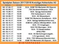 Aktueller Spielplan A3 2017/2018