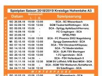 Spielplan der Saison 2018/19 Kreisliga A3 Hohenlohe