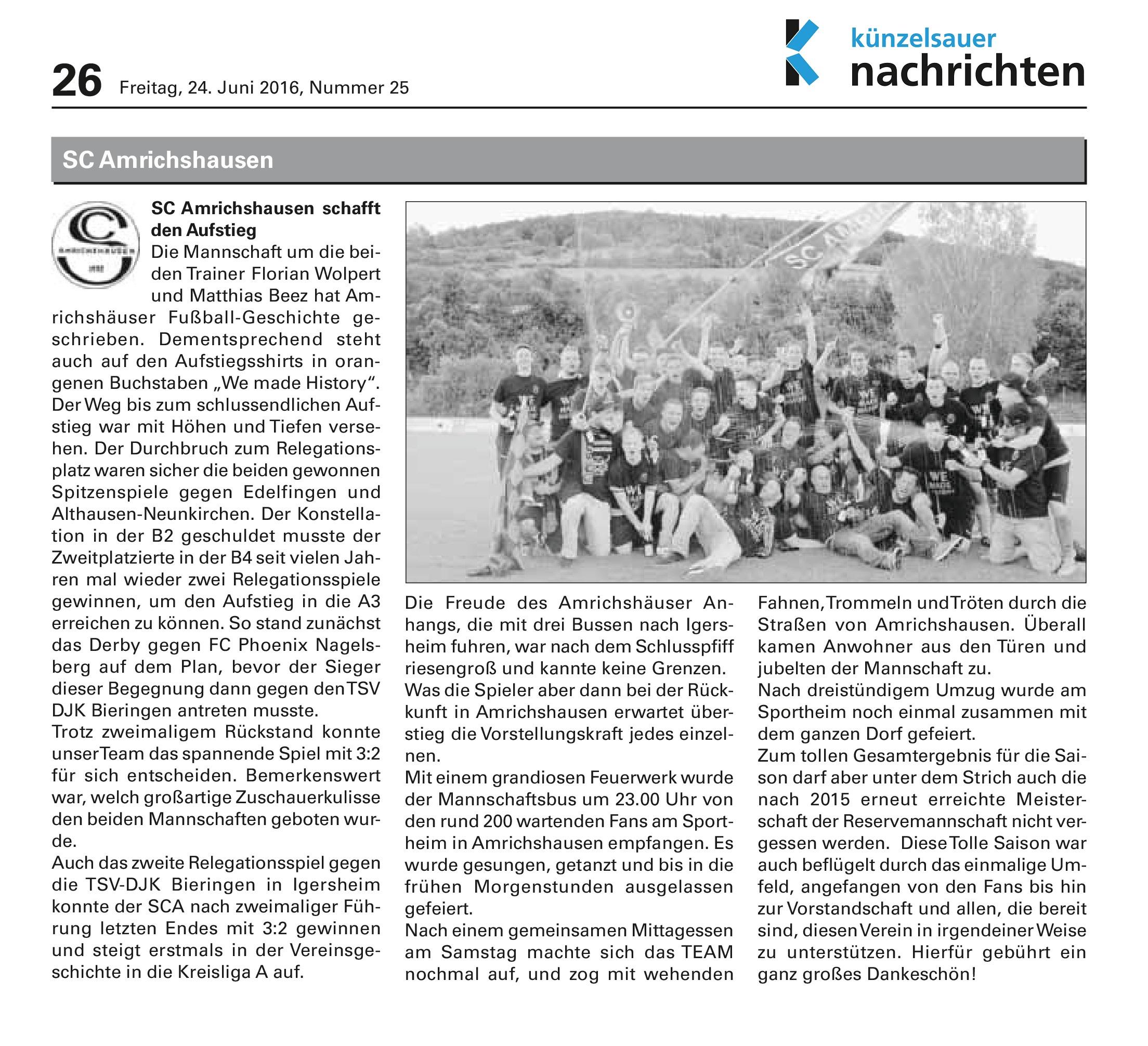 Kuen Nachr. 24.06.2016 SCA schafft Aufstieg
