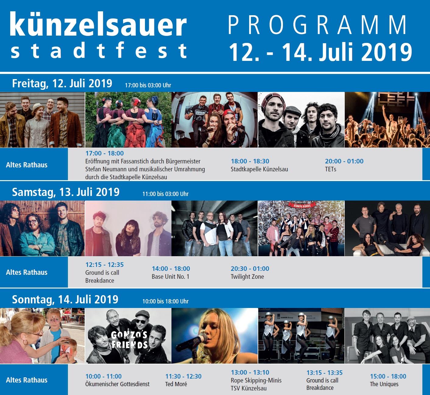 Der SCA beim Stadtfest Künzelsau 2019 * Programm Altes